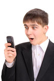 Teenager with phone Stock Photography