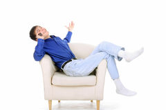 Teenager with phone Royalty Free Stock Photography