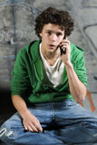 Teenager on phone royalty free stock photos