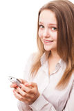 Teenager and phone Royalty Free Stock Photo