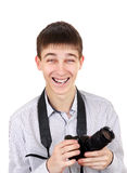 Teenager with Photo Camera Stock Photo