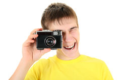 Teenager with Photo Camera Royalty Free Stock Photography