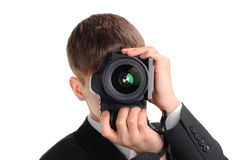 Teenager with Photo Camera Royalty Free Stock Image