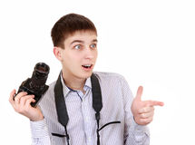 Teenager with Photo Camera Royalty Free Stock Photos