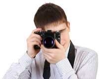Teenager with Photo Camera Stock Photography