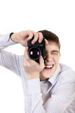 Teenager with Photo Camera Royalty Free Stock Images