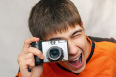Teenager With Photocamera Stock Photography