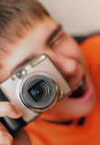 Teenager With Photocamera Royalty Free Stock Images