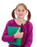 Teenager pigtailed girl with maps and pencils Stock Images