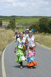 Teenager pilgrims on their way to El Rocio, Spain Stock Images
