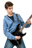 Teenager playing electric guitar. On white background Stock Photo