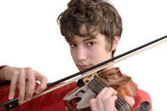Teenager playing violin. Isolated on pure white Stock Images