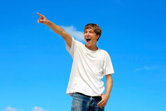 Teenager pointing Royalty Free Stock Images