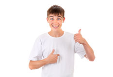 Teenager Pointing at Himself Royalty Free Stock Photography