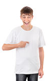 Teenager Pointing at himself Stock Photo