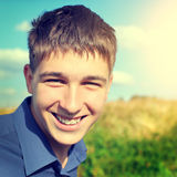Teenager Portrait outdoor. Toned photo of Happy Teenager portrait at the Field Stock Image