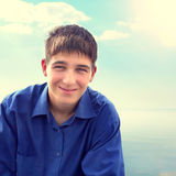 Teenager Portrait outdoor. Toned photo of Teenager portrait on the Sea Background Royalty Free Stock Photos