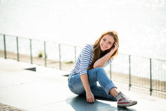 Teenager portrait. Smiling girl outdoor on sunny day Stock Images