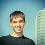 Teenager Portrait. Toned Photo of Cheerful Teenager Portrait in the City Royalty Free Stock Image
