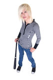 Teenager posing with baseball bat stock images