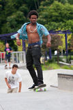 Teenager Practices Skateboarding At Skateboard Park Royalty Free Stock Photo