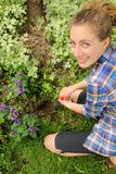 Teenager prepare soil royalty free stock images