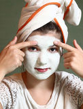 Teenager pretty girl with blue clue mask Royalty Free Stock Photos
