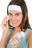 Teenager problem skin care - woman cleanse Royalty Free Stock Image