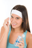 Teenager problem skin care - woman cleanse Stock Photo