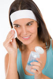 Teenager problem skin care - woman cleanse Royalty Free Stock Photo