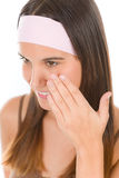 Teenager problem skin care - young woman Royalty Free Stock Image