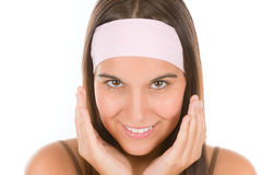 Teenager problem skin care - young woman Royalty Free Stock Photos