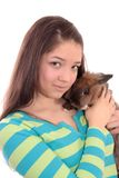 Teenager and  rabbit. Royalty Free Stock Photo