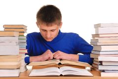 Teenager Reading Books Stock Image