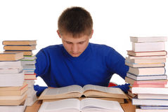 Teenager Reading Books Royalty Free Stock Photography