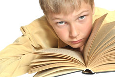 Teenager reads book. Reception of formation. Isolation on white background Stock Image