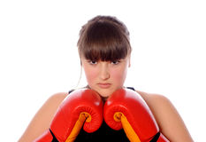 Teenager ready for fight Stock Images