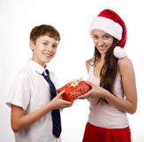 Teenager receiving a gift Royalty Free Stock Photography