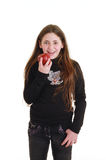 Teenager with red apple Stock Images