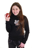 Teenager with red apple Stock Image