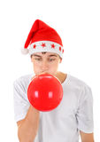 Teenager with Red Balloon Stock Photo