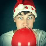 Teenager with Red Balloon Royalty Free Stock Photos