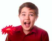 Teenager and red flower Royalty Free Stock Images