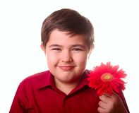 Teenager and red flower Stock Photography