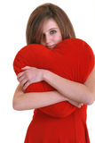Teenager with red heart. On white background Stock Images
