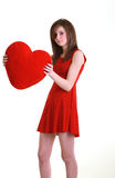 Teenager with red heart Royalty Free Stock Photography