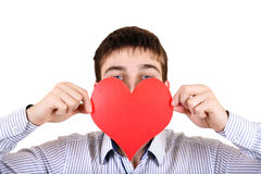 Teenager with Red Heart Shape. Person holds Red Heart shape Isolated on the White Background Stock Photos