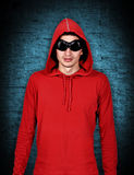 Teenager with red hoodie Stock Images