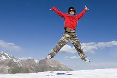 Teenager in red in sport hike Royalty Free Stock Photos