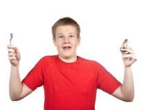 The teenager in a red t-shirt parted hands in the parties Stock Images